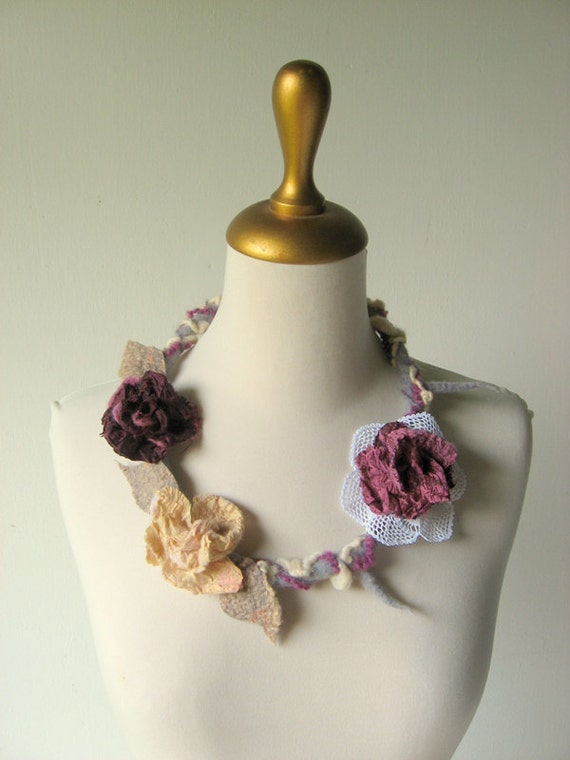 Felted  Faerie Necklace Aubergine, Cream, Mauve