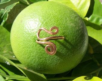 "Hammerd Spiral Copper Ring w/ Hook   ""Sareena"" Made to Order"