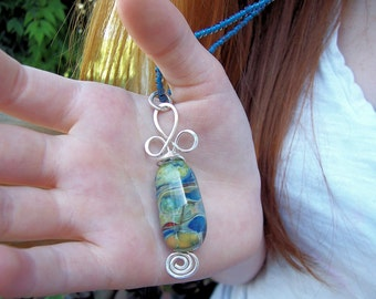 """Lampwork and Argentium Sterling Silver Necklace  SAMPLE photo  """"Wandering Heart"""""""