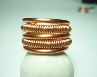 "Copper Ring  5 Band Double Coil  ""Del Ray"""