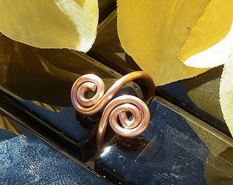 "Double Spiral Copper Ring  ""Flirtation"", Made to Order"