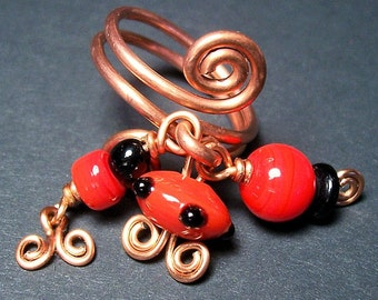 Copper Ring/ Tripple Dangle Ring in Red and Black/ Handmade Lampwork beads