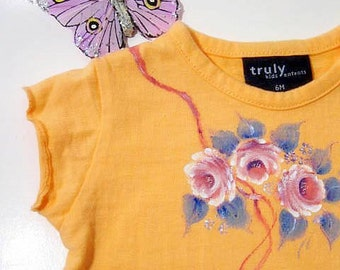Baby TShirt Painted Tshirt Size 12 months Orange Upscaled by enfantjoli on etsy