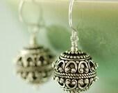 Gifts for her Bali earrings round sterling silver earrings dangle earrings