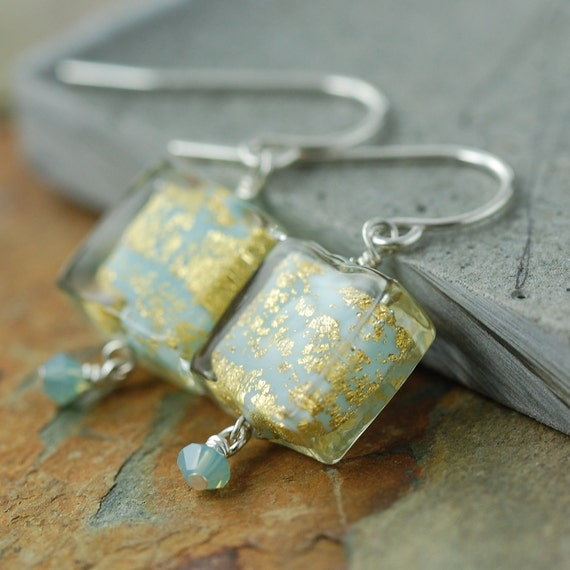 ON SALE Turquoise and gold flat square Venetian glass earrings