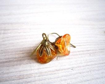 Fleur II Posy Drop Earrings in Pumpkin Orange and Brass