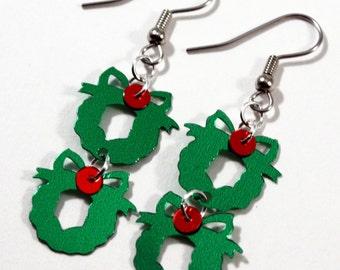 Christmas Earrings Wreath Earrings Green Wreaths with Red Berries Dangle Plastic Sequins