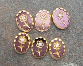 Vintage Glass Intaglio Cabochons  8x10 mm Amethyst  Purple And Gold Daisies with Rhinestone (6 pc)