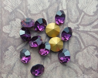 Vintage Czech Rhinestones ss47 Amethyst  Optima Preciosa Pointback Chatons With Gold Foil (choose 6 pc or 12 pc)