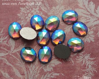 Vintage Glass Cabochons - 10x12 mm Facet Amethyst AB, Transparent Purple, West German Faceted Oval Glass Stones with Foiled Backs (6 pc)