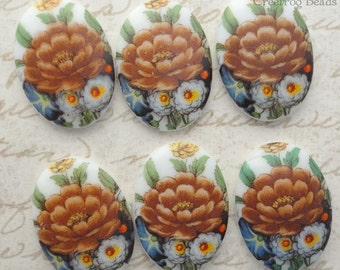 Vintage Glass Cabochons - 25x18 mm Autumn Mum Floral Decal Cabs (choose 2 pc or 4 pc)