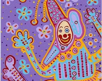 "Clownscape - 12""x12"" ART Print, lavender clown print, purple clown for children, wall art, art, humorous art, funny art"