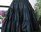 Gothic Loltia Petticoat - Pirate Steampunk Tiered Black Cotton Skirt -Custom to your size XS,S,M,L,XL