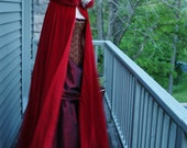Velvet Cape - Red Riding Hood -  Fairytale Adult Costume - Hood Trimmed in Faux Fur-Custom to Order