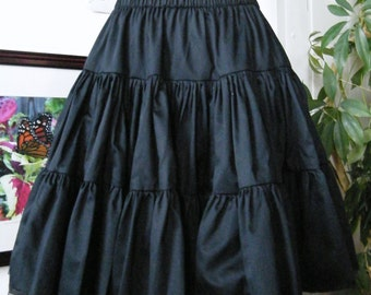 Gothic Loltia Petticoat - Pirate Steampunk Tiered Black Cotton Skirt -Custom to your size XS - 5XL Petie to Plussize