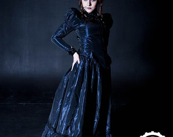 Gothic Victorian Skirt - Steampunk Vampire Madame - Edwardian Lace Taffeta  -Custom to your size