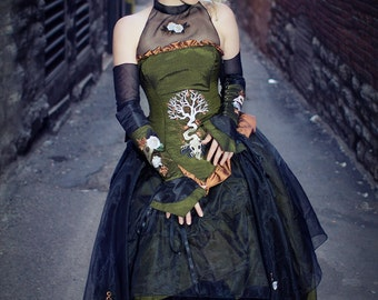 """Steampunk  Wedding Gown Embroidered with Gothic Nature Designs """"Organic Clockwork Gown""""- Woodland Dress-Custom to Order"""