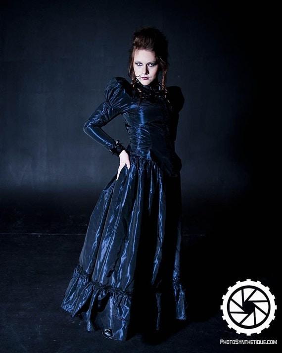 Gothic Victorian Skirt - Steampunk Vampire Madame - Edwardian Lace Taffeta  -Custom to your size