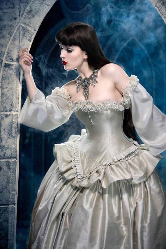 Cinderella Wedding Dress - Alternative Bridal Gown- Fairytale Fantasy Ballgown in Silk -Custom to Order