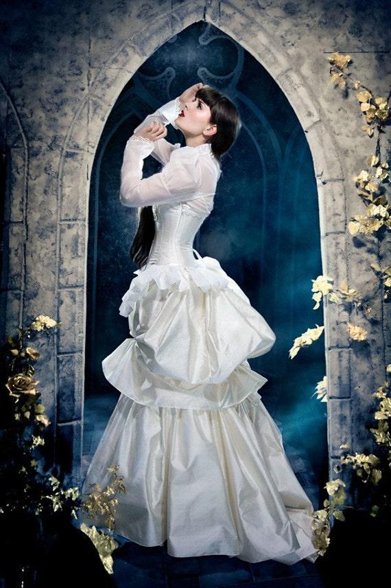 Steampunk wedding dress victorian bustle gown by kmkdesignsllc for Victorian bustle wedding dress