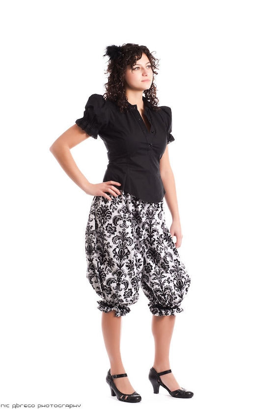 Cotton Steampunk Bloomers - Knee Length Pants - Gothic Lolita Pirate PJs-Custom to order