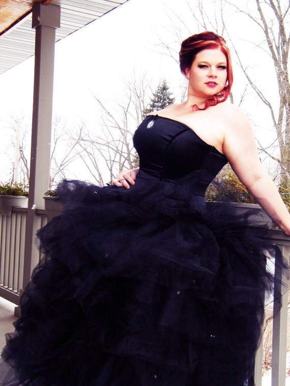 Black Bridal Gown - Gothic BallGown- Alterantive Wedding Dress -Corset Top Halloween Theme- Full Tulle Skirt- Custom to Order
