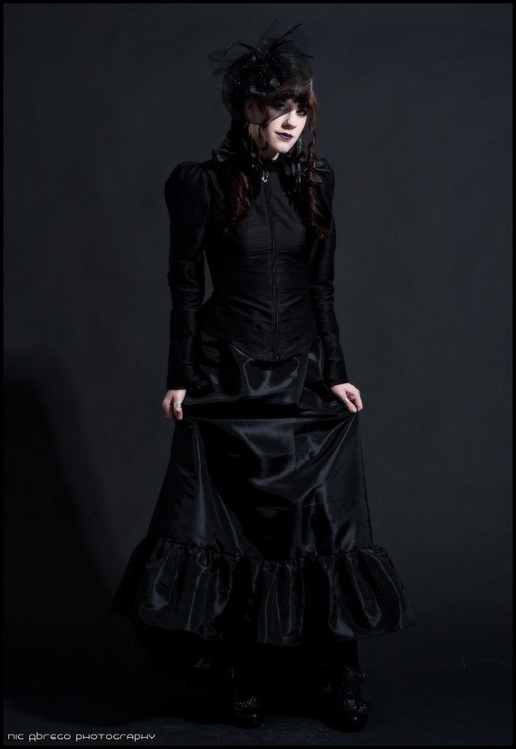 Gothic Steampunk Blouse - Goth Victorian Vampire Dark Morticia Top - Black Silk with Lace Raven Wings- Custom to Order