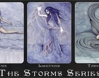 The Storms ACEO Prints Rain Lightning Tornado Goddesses Artist Trading Cards ATC Fantasy Art - Individually or Set