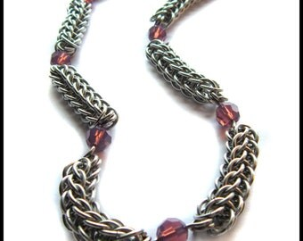 Cyclamen Opal Crystals Full Persian Chainmaille Necklace