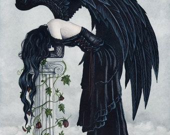 Despair 8 5 X 11 Print Angel Art Gothic Black Wings Sad