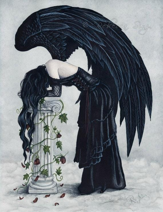 Despair 8.5 x 11 Print Angel Art Gothic Black Wings Sad Emotion Watercolor