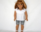 """Pretty rose trimmed tank and preppy plaid shorts for 18"""" dolls such as American Girl"""