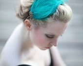 ISADORA - Feather Headband Fascinator with Vintage Jewelry Accent - One of a Kind