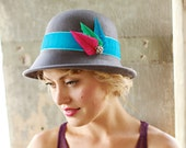 Custom Sale For JORGIE Grey Fedora Style Womens Hat with Feather Accent
