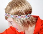 Bohemian Headband, Boho Headband, Boho Headband, Boho Headband, Hippie Headband, Forehead Headband Tangerine, Purple, Turquiose