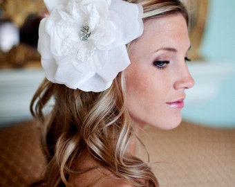 Wedding Hair Accessories Pure White Organza Bridal Flower with Swarovski Crystal Accent