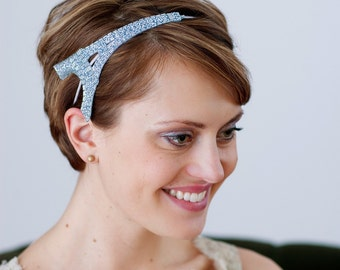 Ice Blue French Headband Eiffel Tower