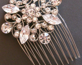 MACY - Swarovski Crystal Bridal Vintage style Brooch, Pin, Wedding Accent, Sash, Bouquet Brooch, or Hair Comb,