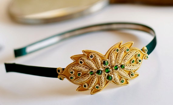 Golden Leaf and Emerald Headband by Bethany Lorelle