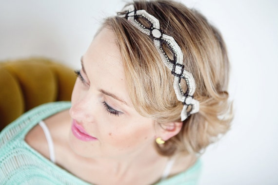 Silver, Grey, Charcoal, Soft Headband Retro Diamond Beaded Accents Other Colors Available