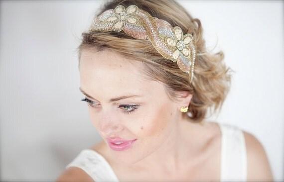 Luminous Beaded Headband Gold Ivory Pale Peach Womens Adult Teen