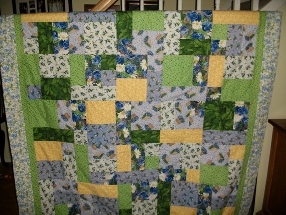 Handmade Blue Floral Quilt, Twin Size, Cotton, Daisies,Violets, Blue,Green,Yellow