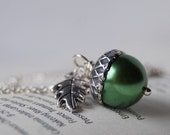 Spring and Silver Acorn Necklace