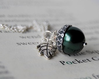 Forest and Silver Acorn Necklace - SALE! -