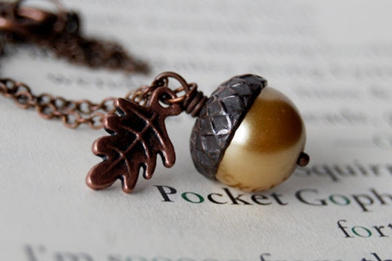 Honey and Copper Acorn Necklace   Pearl Acorn Necklace   Cute Acorn Charm Necklace   Woodland Forest Necklace