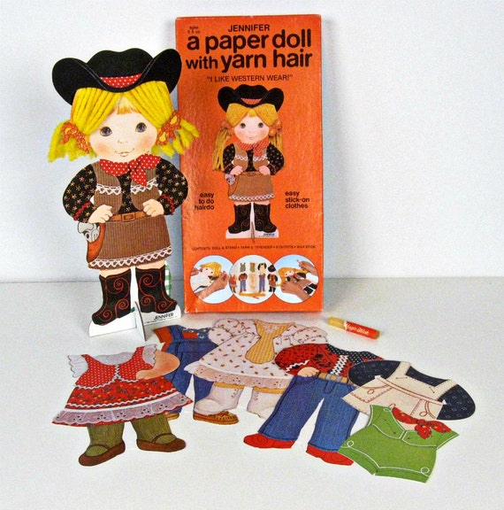 vintage Jennifer Western paper doll with yarn hair