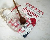 little girl's cooking gift set - better homes and garden cookbook 1978 - vintage pressed glass juicer and wooden spoon -