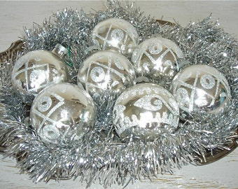 sparkly silver glass Christmas ornaments with vintage glitter - shabby cottage chic -  hollywood regency