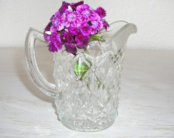 glass pitcher for serving or to hold flowers - vintage cut crystal - shabby chic cottage decor - ornate hollywood regency