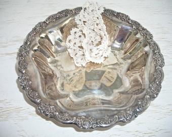 silver bowl - oneida - deep dish with floral rose rim -  ornate shabby cottage chic decor - hollywood regency - wedding heirloom